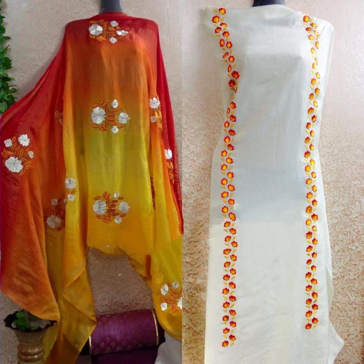 Machine Embroidered Pure Crepe Suit In White Color With Dupatta