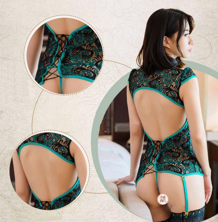 Amazon | DEZAR セクシーランジェリー スケスケ 制服の誘惑 チャイナドレス ゆったりレース cosplay 透明情趣の下着 スカート | コスプレ・仮装 通販