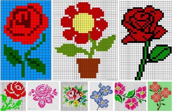 rosas en punto de cruz para imprimir