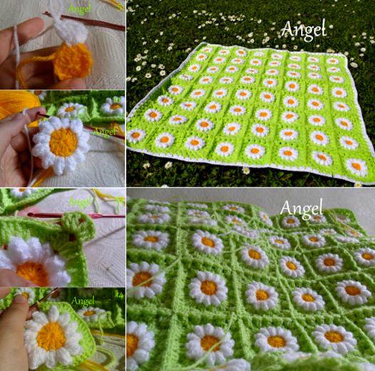 Beautiful Crochet Daisy Flower Blanket. Check free pattern--> http://wonderfuldiy.com/wonderful-diy-crochet-daisy-flower-blanket-for-baby/