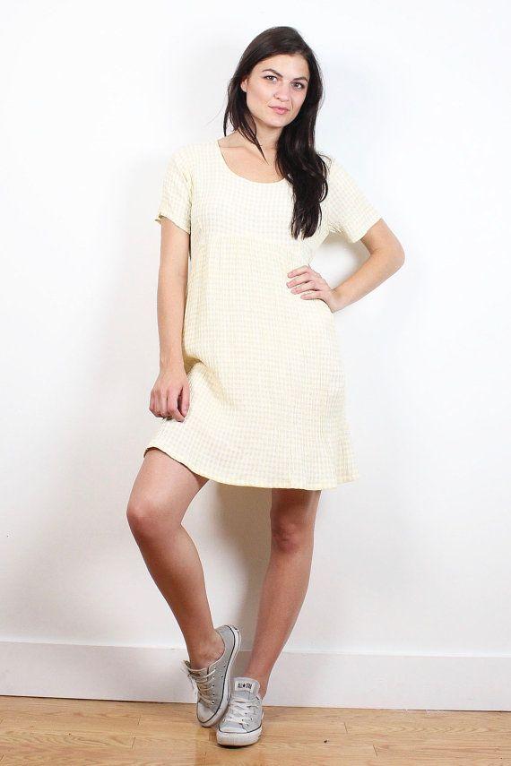 Vintage 90s Dress Pale Pastel Yellow White Gingham Plaid Babydoll Dress 1990s Dress Boho Soft Grunge Mini Dress Lolita Kawaii S M Medium L #vintage #etsy #1990s #90s #soft #grunge #gingham #mini #babydoll #dress