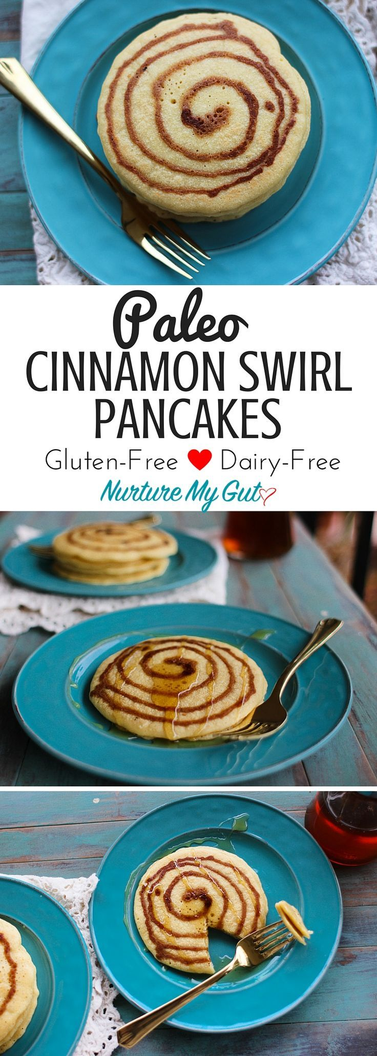Paleo Cinnamon Swirl Pancakes.  Gluten Free, Dairy Free & Grain Free.  A yummy swirl made with cinnamon, coconut sugar and vanilla gives a great flavor and design to these fun, yummy breakfast pancakes!  Made with blend of blanched almond flour, tapioca and coconut flour for a light and fluffy pancake. Fool-proof tutorial!