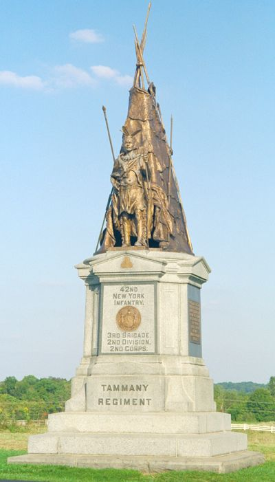 Monument to the 42nd New York Infantry Regiment on the Civil War battlefield of Gettysburg