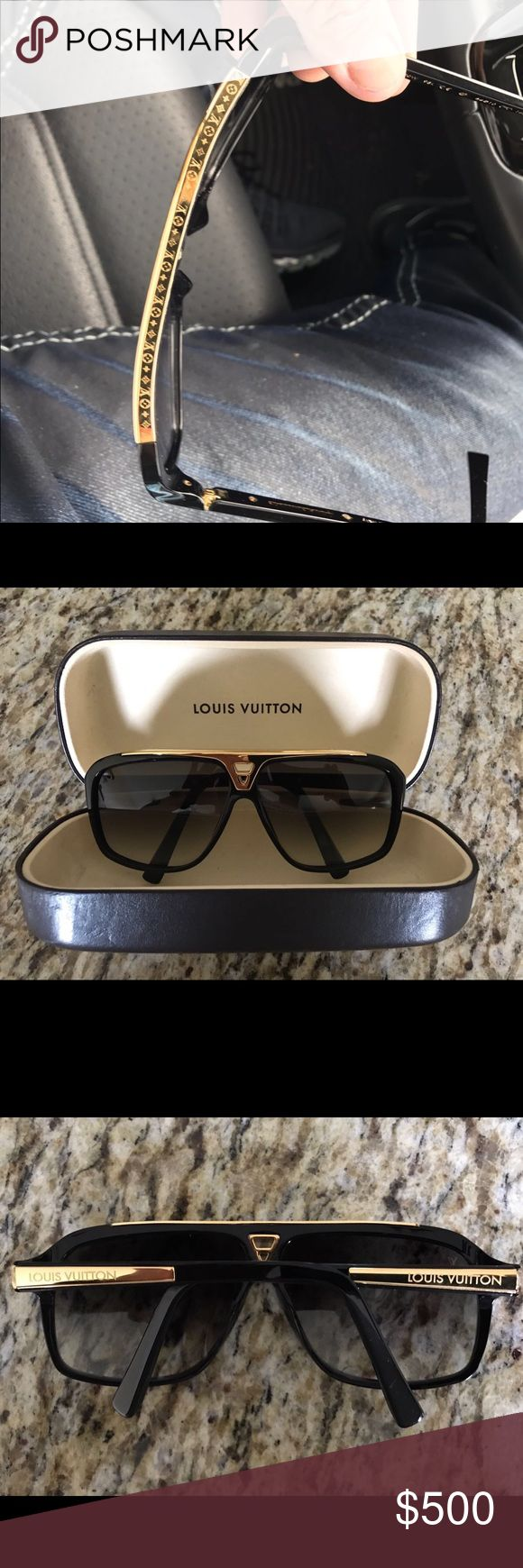 Authentic Louis Vuitton Evidence Sunglasses Z0350W Authentic Louis Vuitton Evidence Sunglasses Z0350W BLACK GOLD Aviator Style. These are 100% authentic and were purchased for $775.00 total. Glasses come with case. These are in awesome shape with very little hairline scratches (See all pics). There is very little scratches (barely noticeable), but all else in excellent shape. These do have the flexible hinges. Own now for way less than retail, and stand out from the crowd. Priced to sell…