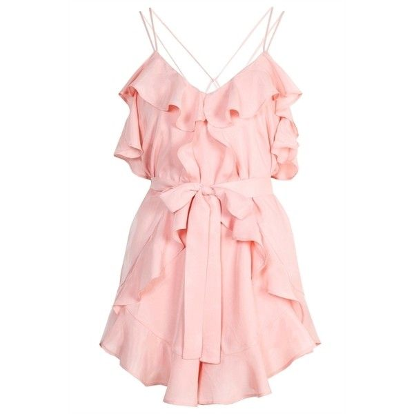 Alice McCall Made For This Playsuit ($315) ❤ liked on Polyvore featuring jumpsuits, rompers, dresses, playsuits, pink, alice mccall, pink rompers, ruffle romper, playsuit romper and pink romper