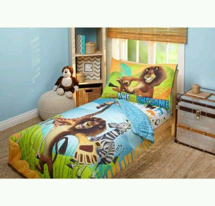 Disney Toddler Bedding Set Madagascar 4 Piece Quilt Sheets Kids Bedroom Lion New #Disney