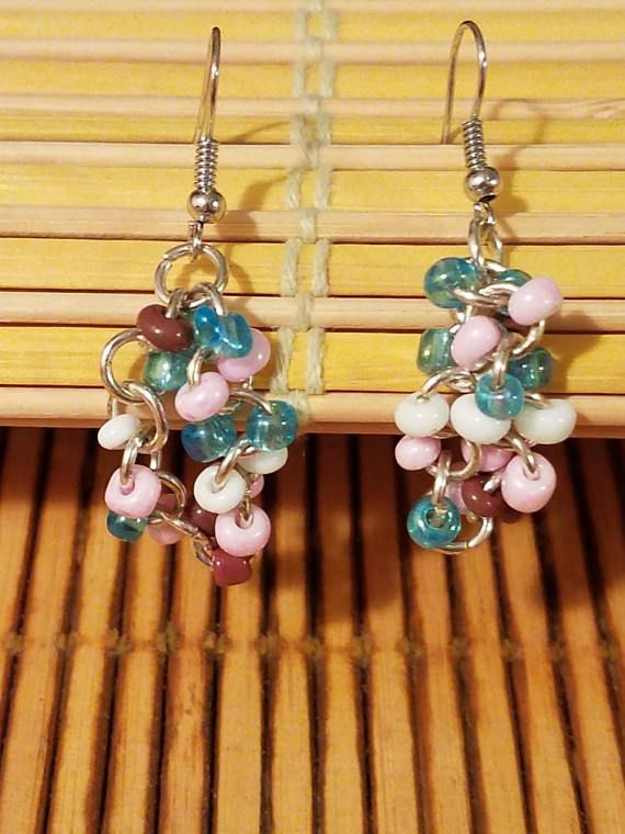 Chainmaille earrings glass seed beads chainmaille jewelry