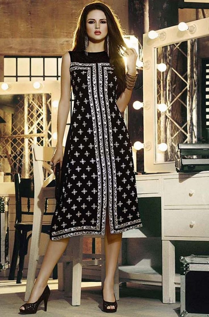 Black Georgette Embroidered Party Wear Kurti