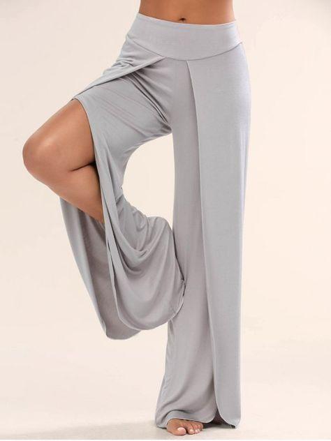 $13.99 High Split Wide Leg Flowy Pants - GRAY XL