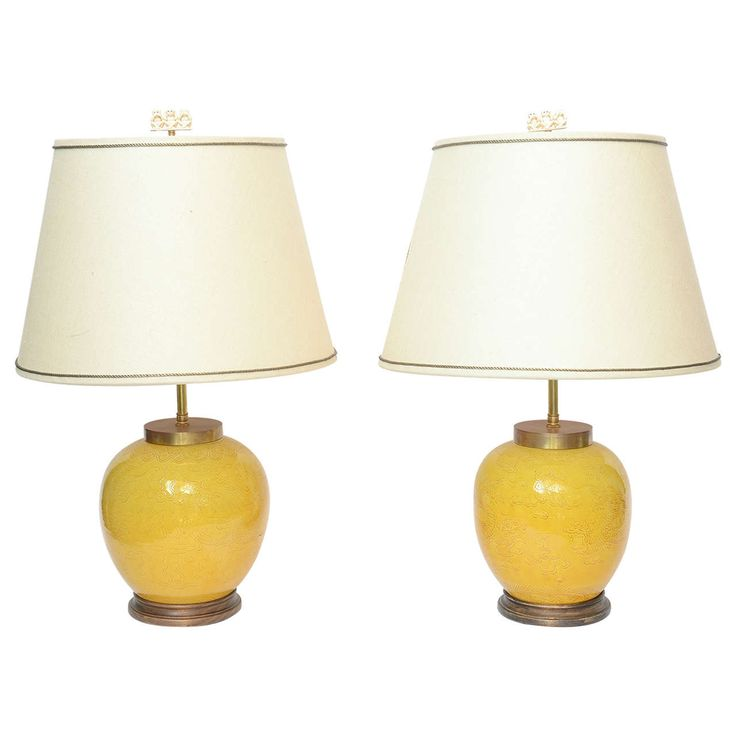 Pair of Chinese Porcelain Round Yellow Vase Lamps, circa 18th Century | From a unique collection of antique and modern table lamps at https://www.1stdibs.com/furniture/lighting/table-lamps/