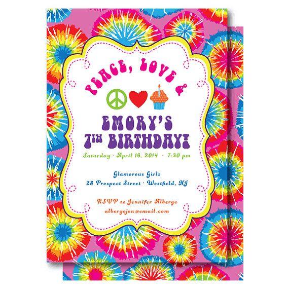 tie dye birthday invitation