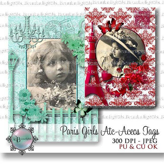 Little Paris Girl Tags   ATC or ACEO size by Beauladigitals
