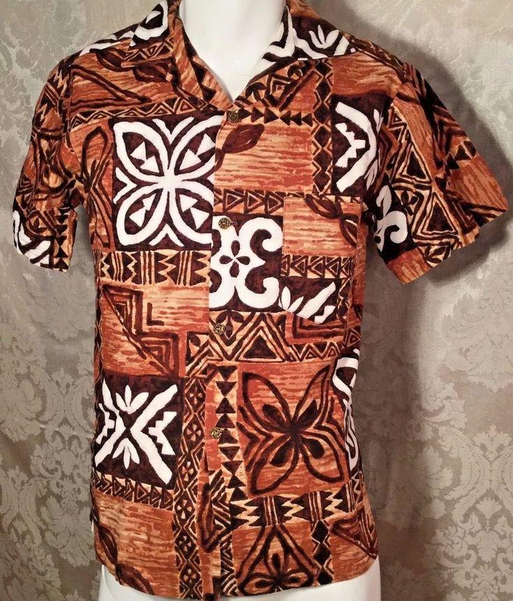 Vintage Hawaiian Aloha Shirt Barkcloth Tapa Tribal Print Tiki Small #Hawaiian #ButtonFront