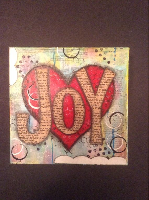 Joy 6x6 Mixed Media Canvas with Heart by fluttersofwhimsy on Etsy