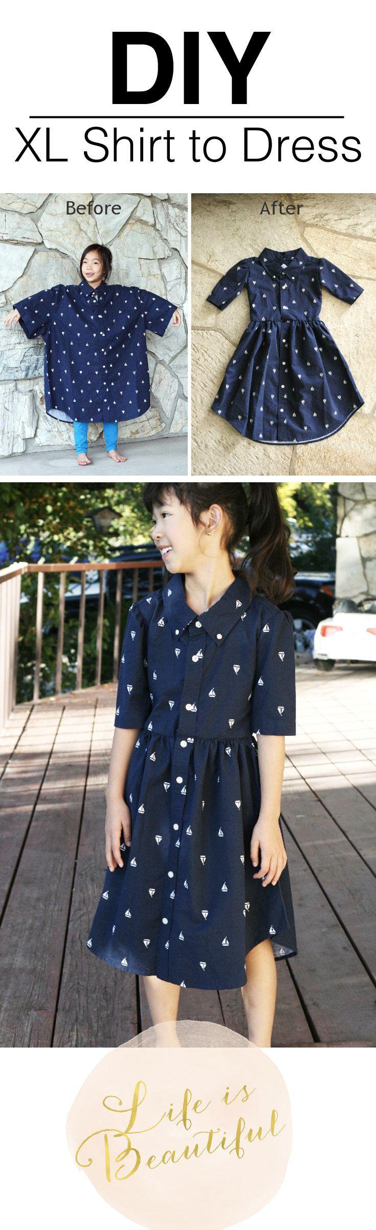 XL men's shirt to little girls dress refashion.