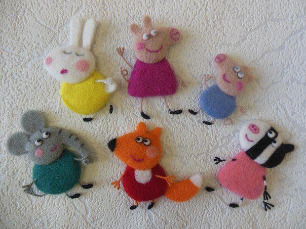 peppa ping y sus amigos hechos con lana de fieltro