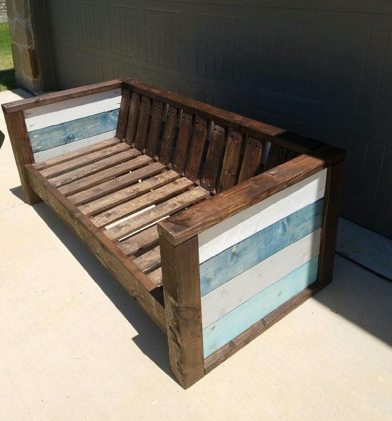rustic solid wood patio loveseat local pickup
