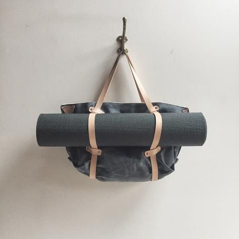 Arden Yoga Tote - Made Exclusively for Yoga International | Waxed Canvas, inside and out, vegetable tanned leather