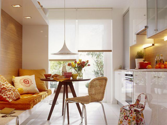 Adorei esta cozinha! Mesa + futon + iluminação