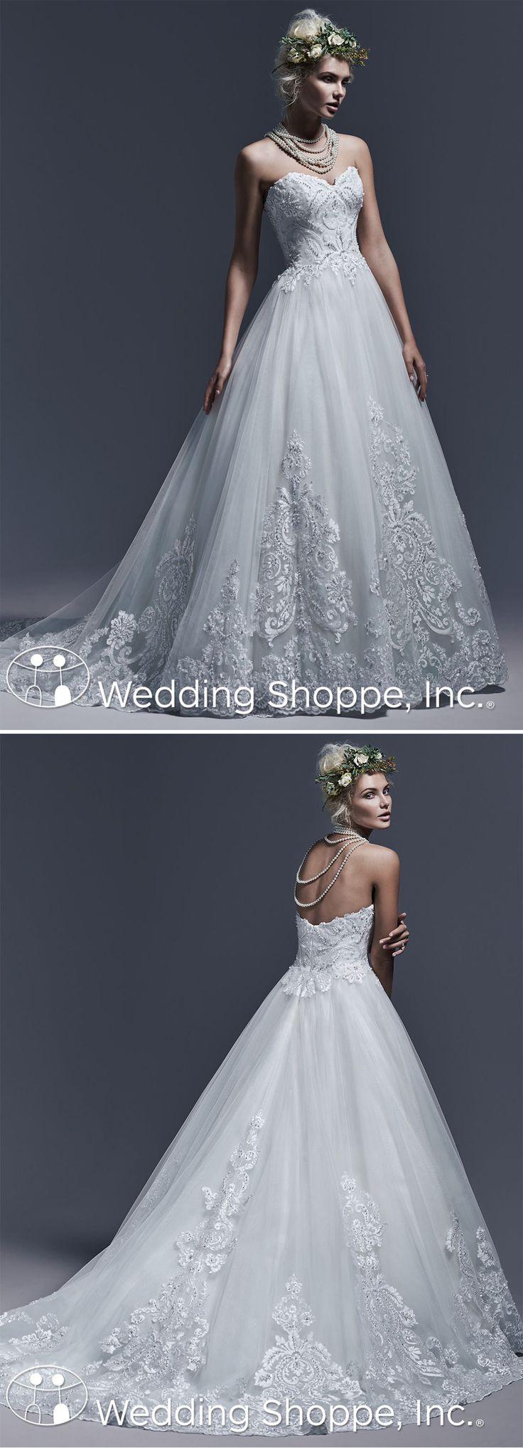 vintage wedding dress strapless sequins beads embroider flowy train