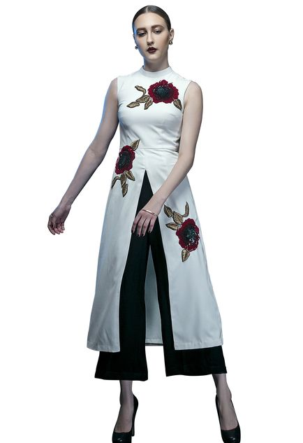 Ivory rose embroidered tunic with black culottes