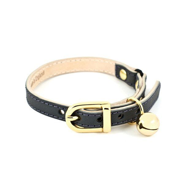 Slate Grey Leather Cat Collar | Luxury Cat Collars | Linny | StyleTails – STYLETAILS