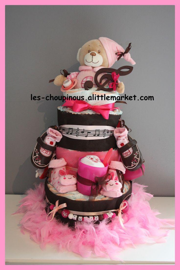 Gâteau de couches fille cadeau naissance baptême : Décoration pour enfants par…