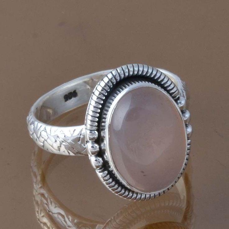 DESIGNER 925 STERLING SILVER ROSE QUARTZ RING 5.50g DJR8362 SZ-8 #Handmade #Ring