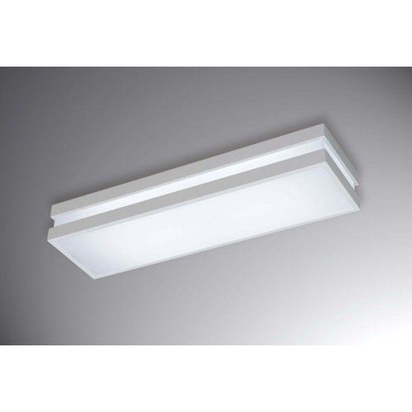 Plafon New Quadrus retangular, interno e externo branco, para 2 lâmpadas,  Medidas: 70x11,5cm,  Material: Metal e acrílico,  Cor: Branco Total
