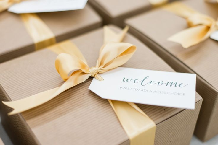 Curated gift box company Marigold & Grey shares top wedding welcome gift trends for 2017 including hashtags, boxes over bags, welcome booklets, breakfast in bed