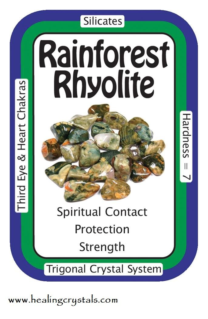 """∆ Rainforest Jasper (Rhyolite)... """"Love and Joy permeate every cell of my body.""""  Associated with the Heart Chakra, it helps people deal with past-life issues, by helping one to see the relationship between karma and what is happening now, making these issues much easier to accept and work through."""