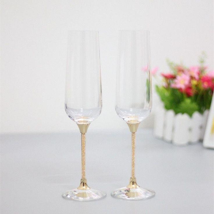 Toasting glasses, crystal champagne flutes, gold stem
