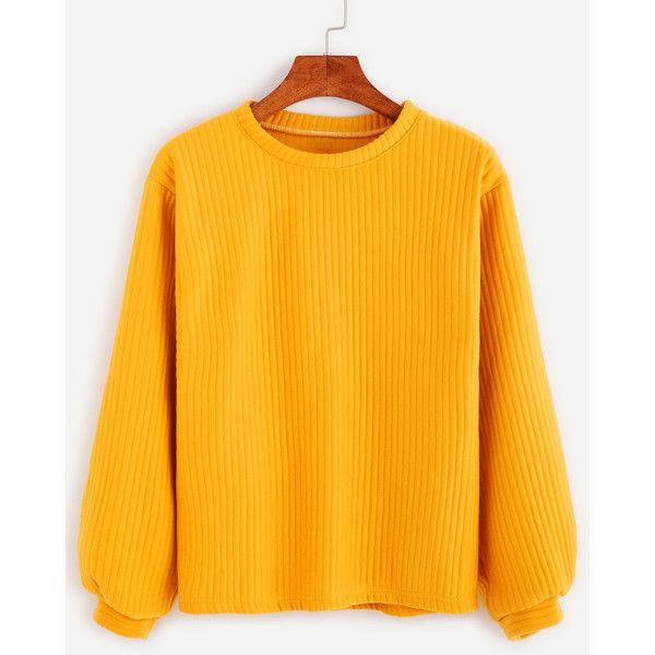Yellow Long Sleeve Ribbed Sweatshirt ($9.99) ❤ liked on Polyvore featuring tops, hoodies, sweatshirts, yellow, long sleeve sweatshirt, sweater pullover, orange top, yellow long sleeve top and yellow sweatshirt