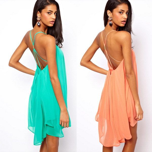Nieuwe 2014 zomer sexy vrouwen kleding jurken backless spaghetti bandje chiffon strand jurk, groene, zwart, roze, s, m, l, xl
