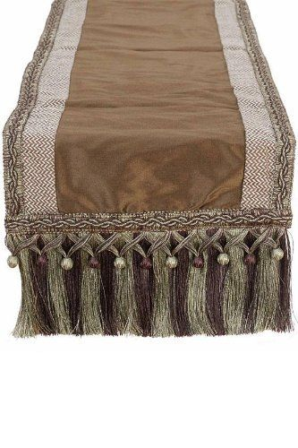 "Polished Table Runner, 12""Hx72""W, CHOCOLATE APPLE by Home Decorators Collection. $19.00. 12""H x 72""W.. The Polished Table Runner features an engaging zigzag pattern, beautiful earth tone colors and braided tassel fringe at each end. Perfect for a console table or as a formal accent to your next dinner, this decorative runner will instantly add elegance to any surface. Order yours today! Expertly crafted from 100% Polyester. Complements traditional to transitional home decor st..."