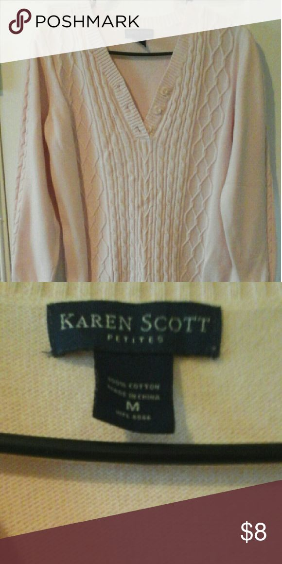 Karen Scott Petites Sweater Cable knitting front, side sleeves, ribbed at v-neck, ends of sleeves and bottom, 100% Cotton, very good condition, Light pink Karen Scott Petites   Sweaters