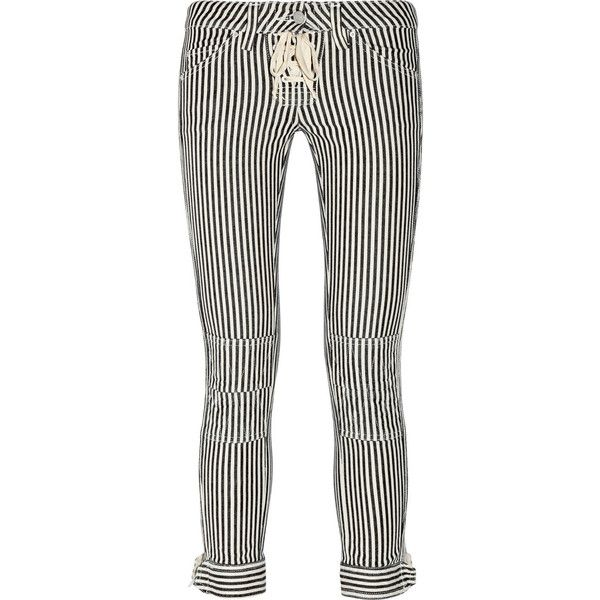 Isabel Marant Pliro low-rise cropped jeans ($175) ❤ liked on Polyvore featuring jeans, pants, women, cropped jeans, button-fly jeans, skinny leg jeans, zipper jeans and denim skinny jeans