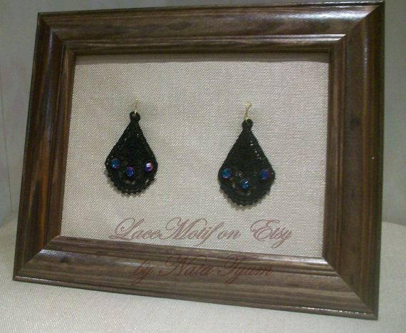 The black embroidered Lace Earrings whith beads and by LaceMotif, $12.95