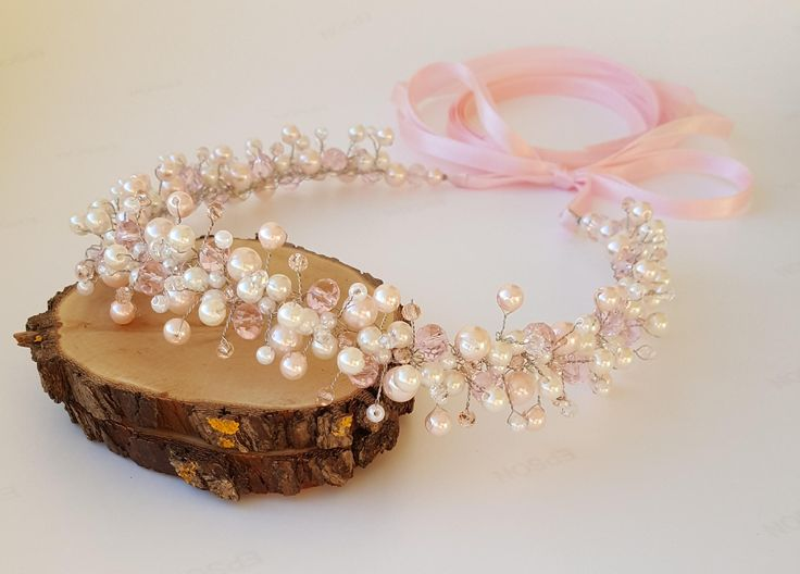 Pink Bridal Ivory Pearls Crown,Bridal Tiara,Ivory Glass Pearls Headpiece,Pink Hair Accessories,Wedding Headband,Bridal Crown by CyShell by CyShell on Etsy