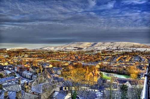 Clitheroe and Pendle Hill from Clitheroe Castle - January 2012