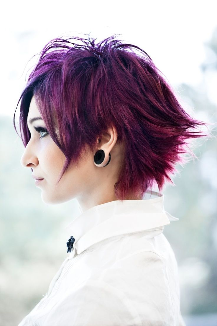 coloured, short, choppy emo/punk/goth/indie hairstyle