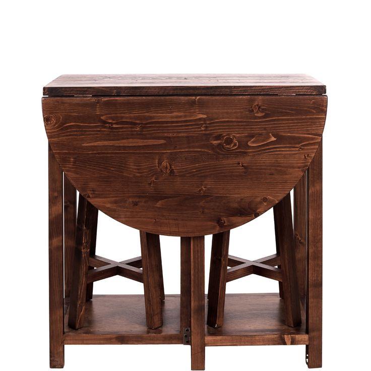 Chairlock schafft Platz auf kleinstem Raum: Das Set umfasst einen halbrund ausklappbaren Tisch mit 2 Schubladen - und dazu 2 Hocker (belastbar bis 120 kg), die platzsparend unter dem Tischchen geparkt werden können. Eine Küche kann da kaum noch zu winzig sein, um nicht auch zur Essküche zu werden.