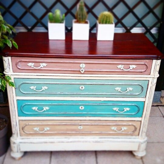 Cassettone in mogano #ASCP #chalkpaint #shabby #oldwhite #countrygrey #coco #dickegg #provence #DIY #QLHFI