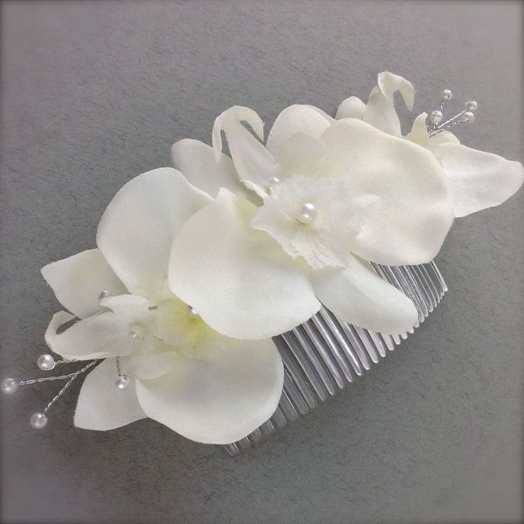92 best flower arrangements images on pinterest flower ivory orchid silk flowers silver pearl sprays hair corsage on a comb wedding mightylinksfo