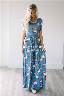 Dusty Blue Pink Floral Modest Maxi Dress, Vintage Dress, Church Dresses, dresses for church, modest bridesmaids dresses, trendy modest, modest skirt, modest shirts, cute modest dresses, modest church dresses, mikarose, trendy boutique