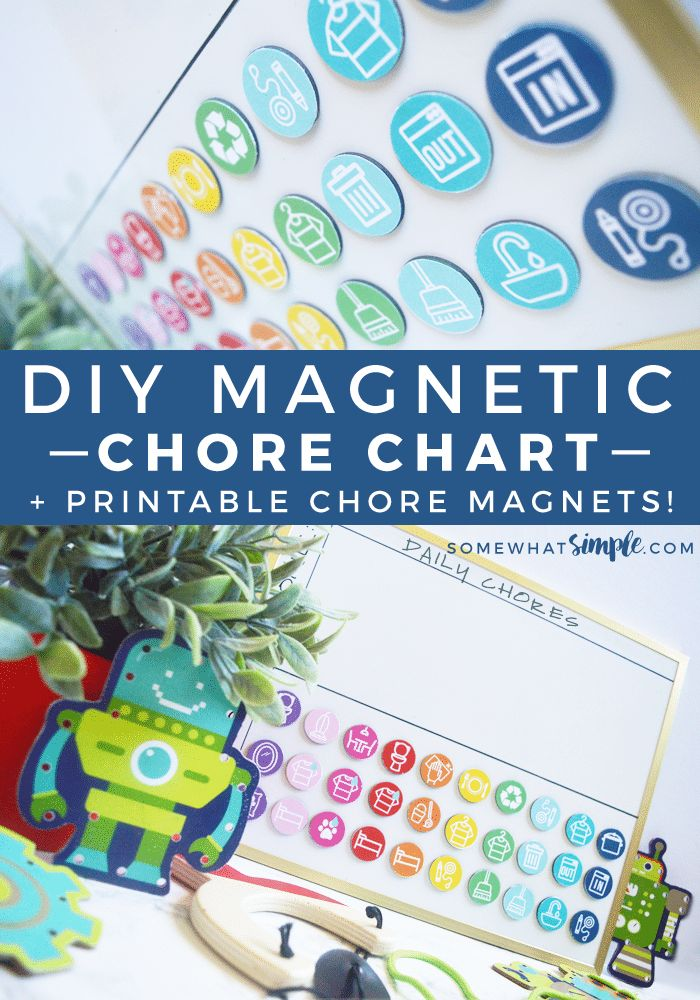 DIY Magnetic Chore Chart | Printable Chore Magnets | This easy tutorial will show you how to make a darling Magnetic Kids Chore Charts in a snap!