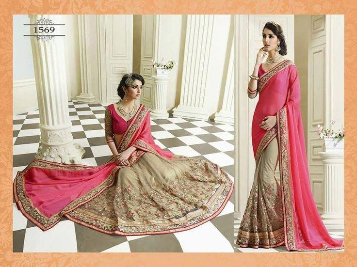 Rani Pink & Chiku Bollywood sarees online