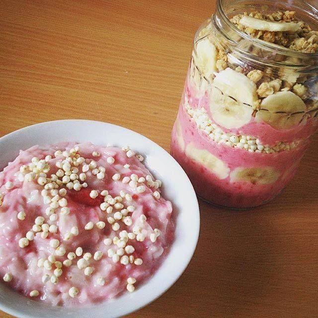 Gluténmentes vegán epres-málnás tejberizs és rizskoch