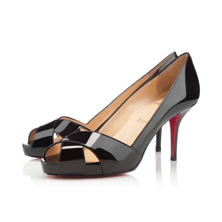 Louboutin SHELLEY VERNIS 90 mm, Cuir vernis, noir, souliers à plateau pour femme