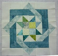 Blue / Green Star & Interlocking Squares Quilt Block